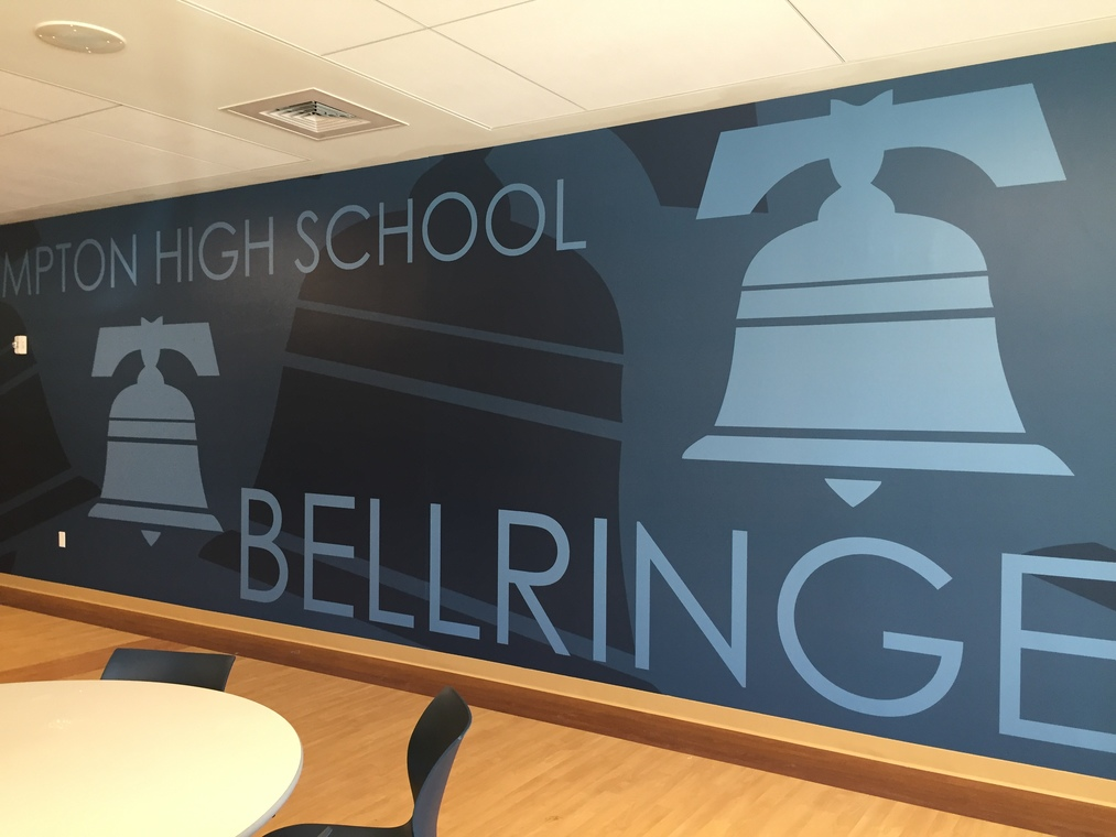 Photo of large Bellringer Mural in HS cafeteria