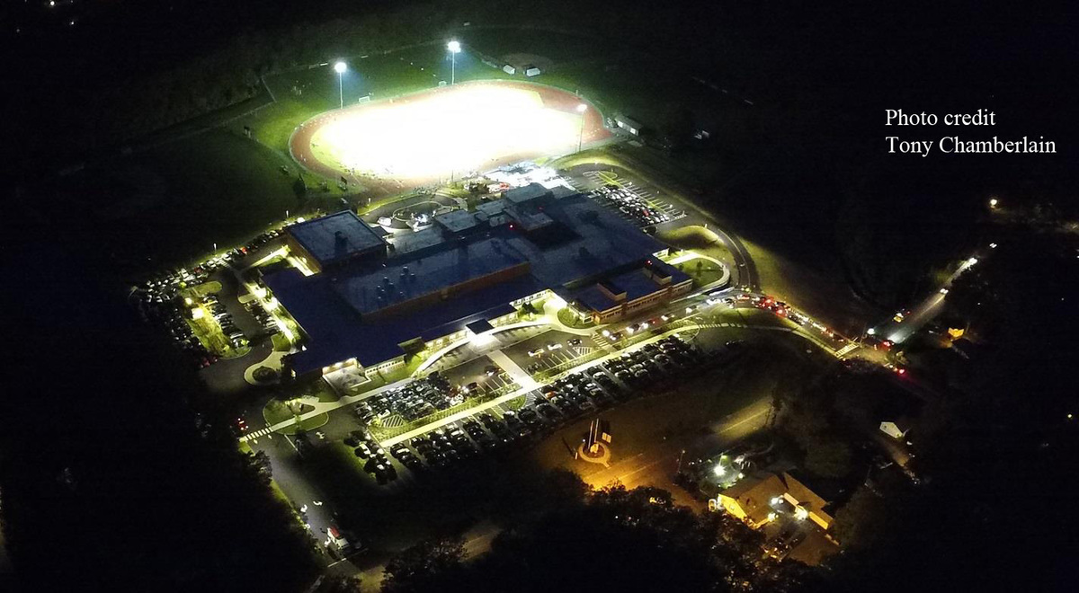 Night time aerial photo the night of the East Hampton Fireworks at EHHS